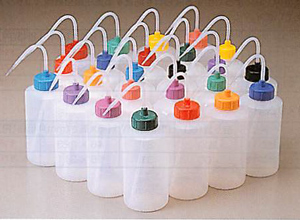 カラーキャップ付き洗浄瓶