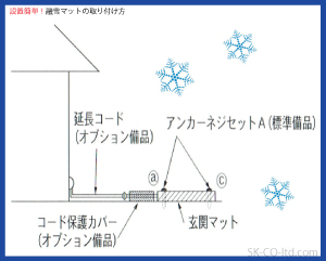 融雪マット取付簡単玄関用スノーメルトマットです